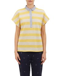 Band Of Outsiders Stripe Piqué Knit Polo Shirt - Lyst