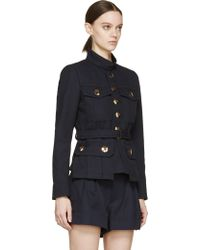 Marc Jacobs Navy Twill Belted Military Jacket - Lyst