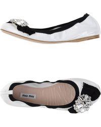 Miu Miu Ballet Flats white - Lyst