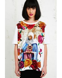 House Of Holland Virgin Mary Printed Tee in White - Lyst