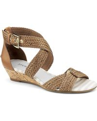 Sperry Top-sider Alvina Woven Leather Wedge Sandals - Lyst