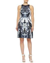 Monique Lhuillier Craneprint Duchesse Racerback Dress - Lyst