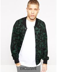 American Apparel - Bomber Jacket with Floral Print - Lyst