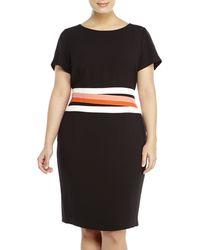 Anne Klein Plus Size Black Color Block Waist Dress - Lyst
