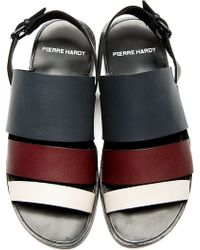 Pierre Hardy - Grey Burgundy and Cream Slingback Sandals - Lyst