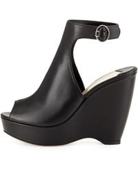 Prada Peep Toe Leather Ankle Strap Wedge - Lyst