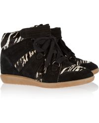 Isabel Marant Blossom Printed Calf Hair and Suede Wedge Sneakers - Lyst