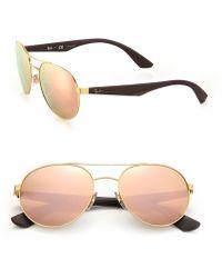 Ray-Ban | Phantos 55mm Mirrored Metal Injected Aviator Sunglasses | Lyst