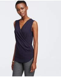 Ann Taylor | Tall Crepe Wrap Shell | Lyst