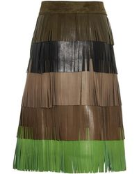 Sonia Rykiel Fringed Lamb-Leather Skirt multicolor - Lyst