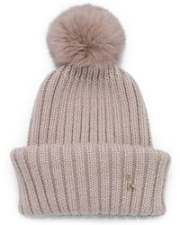 Patrizia Pepe Wool Hat with Rabbit Fur Insert - Lyst
