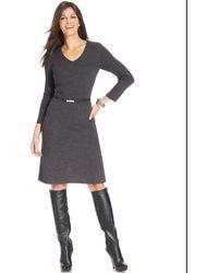 Jones New York Signature Petite Belted Aline Sweaterdress - Lyst