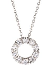 Roberto Coin - 18k Gold Necklace With Small Diamond Circle Pendant - Lyst