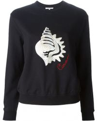 Carven | Black Embroidered Cotton Sweatshirt | Lyst