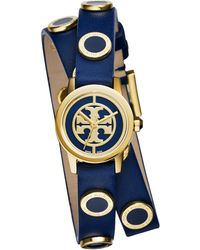Tory Burch Reva Mini Goldtone Stainless Steel, Enamel & Studded Leather Strap Watch/Navy blue - Lyst