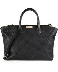 Burberry Embossed-Check Leather Tote - Lyst