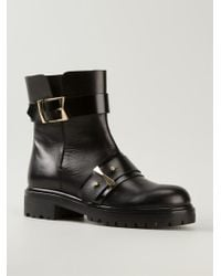 Alexander McQueen Black Buckled Boots - Lyst