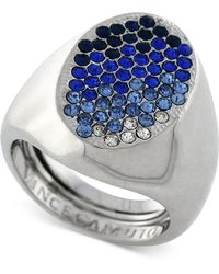 Vince Camuto - Rhodium-tone Blue Ombre Pave Ring - Lyst