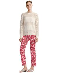 Tory Burch Laurel Cropped Straight Leg Jean - Lyst
