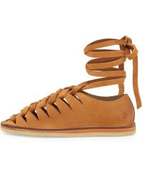Frye Holly Nubuck Gladiator Flat - Lyst