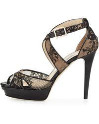 Jimmy Choo Kuki Lace Platform Sandal Black - Lyst
