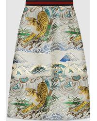 Gucci | Tiger Jacquard Silk Skirt | Lyst