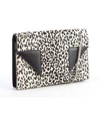 Saint Laurent Black Leather And Printed Calf Hair Medium 'Betty' Shoulder Bag - Lyst