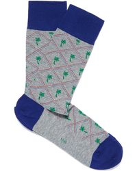 Smythson - Grey Palm Tree Socks - Lyst