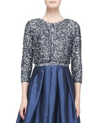 Aidan Mattox - 3/4-Sleeve Cropped Sequined Jacket - Lyst