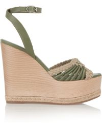Donna Karan - Tiberias Leather Wedge Sandals - Lyst