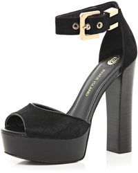 River Island Black Pony Skin Block Heel Platform Sandals - Lyst