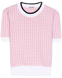 Miu Miu Shortsleeved Wool Sweater - Lyst