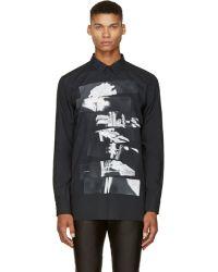 Helmut Lang Black Poplin Flower Shirt - Lyst