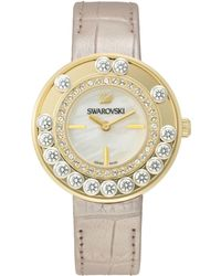 Swarovski Womens Swiss Lovely Crystals Light Gold Calfskin Leather Strap Watch 35mm - Lyst