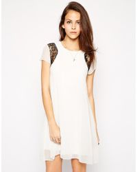 AX Paris Swing Dress With Lace Inserts - Lyst