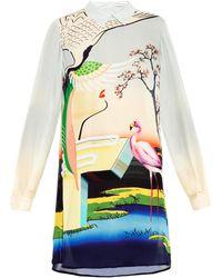 Mary Katrantzou Flamingo-Print Silk Shirtdress - Lyst