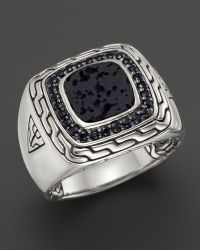 John Hardy Mens Batu Classic Chain Sterling Silver Square Ring with Black Volcanic Rock and Black Sapphire Lava - Lyst