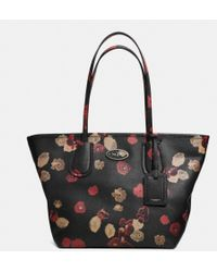 Coach Taxi Zip Top Tote in Floral Print Leather - Lyst