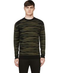 Diesel Black Gold Green Kattone Camo Knit Sweater - Lyst