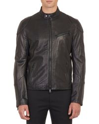 Ralph Lauren Black Label Leather Café Racer Jacket - Lyst