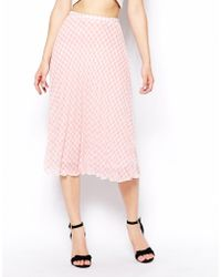 Asos Pleated Midi Skirt In Gingham Print - Lyst