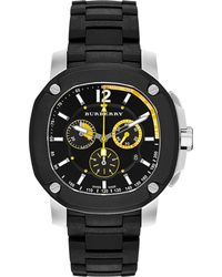 Burberry Men'S Swiss Chronograph The Britain Black Polyurethane Strap Watch 47Mm Bby1106 black - Lyst