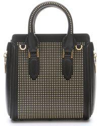 Alexander McQueen Black Leather Mini Heroine Bead Studded Bag - Lyst