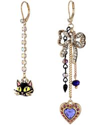 Betsey Johnson Nonmatching Black Cat Earrings - Lyst