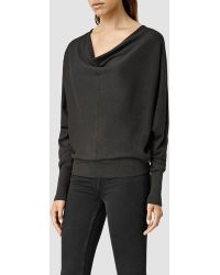 Allsaints Elgar Cowl Neck Sweater in Black | Lyst