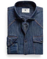 Mango Classicfit Dark Denim Shirt - Lyst