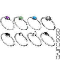 Asos Curve 90s Mixed Stone Ring Multipack - Lyst