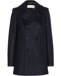 Saint Laurent Wool Pea Coat - Lyst