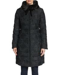Vera Wang Chinoiserie Faux Fur-collar Puffer Coat - Lyst