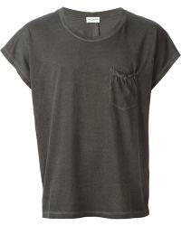 Saint Laurent Black Distressed T-Shirt - Lyst